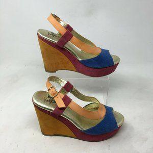 Very Volatile Slingback Wedge Sandals 9 Women Peep